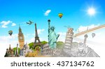 famous landmarks of the world... | Shutterstock . vector #437134762