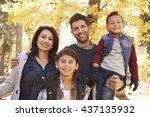portrait of hispanic family... | Shutterstock . vector #437135932