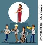 musicians people  flat vector...