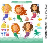 vector set with pretty mermaids ... | Shutterstock .eps vector #437142562