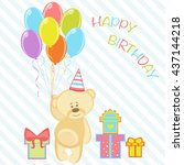 bear with balloon and gift for... | Shutterstock .eps vector #437144218