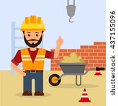 man foreman at a construction... | Shutterstock .eps vector #437155096