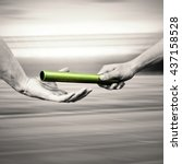 man passing the baton to... | Shutterstock . vector #437158528