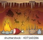 prehistoric cave thematic image ... | Shutterstock .eps vector #437160286