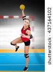 female athlete throwing... | Shutterstock . vector #437164102