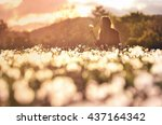 young girl on beautiful spring... | Shutterstock . vector #437164342