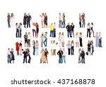people diversity many... | Shutterstock . vector #437168878
