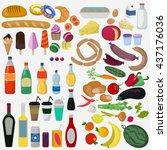 vector illustration set of... | Shutterstock .eps vector #437176036
