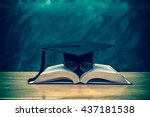 graduation cap with glasses... | Shutterstock . vector #437181538