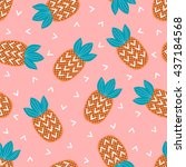 seamless pattern with... | Shutterstock .eps vector #437184568