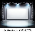 spotlights on the stage. vector ... | Shutterstock .eps vector #437186758