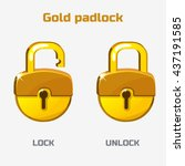 cartoon gold padlock. lock and... | Shutterstock .eps vector #437191585