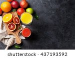 fresh citruses and juice on... | Shutterstock . vector #437193592