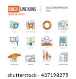 color thin line icons set. logo ... | Shutterstock .eps vector #437198275