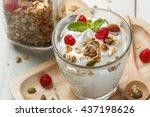 greek yogurt in a glass with... | Shutterstock . vector #437198626