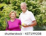 portrait of senior tennis...   Shutterstock . vector #437199208