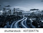 blue tone city scape and... | Shutterstock . vector #437204776