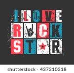 """grunge letters """"i love rock...   Shutterstock .eps vector #437210218"""