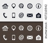 set of icons in print style for ... | Shutterstock .eps vector #437210542