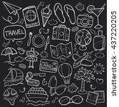 blackboard travel doodle icons... | Shutterstock .eps vector #437220205