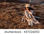 happy boho woman sitting at... | Shutterstock . vector #437226052