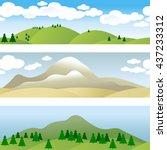 set of 3 borders. landscape.... | Shutterstock .eps vector #437233312