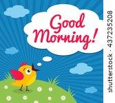 good morning  funny little bird ... | Shutterstock .eps vector #437235208