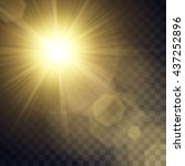 vector yellow sun with light... | Shutterstock .eps vector #437252896