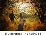 just married loving hipster...   Shutterstock . vector #437254765