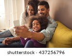 african american family making... | Shutterstock . vector #437256796