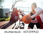 man passing the ball to another ... | Shutterstock . vector #437259922