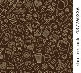 coffee color seamless pattern.... | Shutterstock .eps vector #437260336