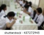 blurred primary school... | Shutterstock . vector #437272945