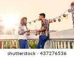 multi ethnic millenial couple... | Shutterstock . vector #437276536