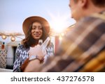 multi ethnic millenial couple... | Shutterstock . vector #437276578