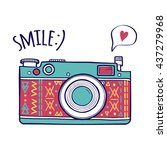 vector illustration with cute... | Shutterstock .eps vector #437279968
