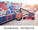cargo containers in shipping...   Shutterstock . vector #437281216
