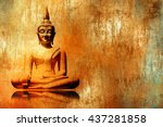 buddha image in lotus position... | Shutterstock . vector #437281858
