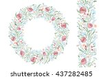 seamless pattern brush with... | Shutterstock . vector #437282485