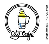 city cafe logo template design... | Shutterstock .eps vector #437285905