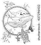 coloring page about whale and... | Shutterstock .eps vector #437296432