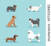set of dogs. cartoon vector... | Shutterstock .eps vector #437310982