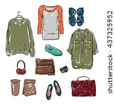 woman clothing and accessories. ... | Shutterstock .eps vector #437325952