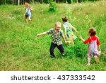 the children lead an active a... | Shutterstock . vector #437333542