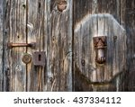 Old Wooden Door And Rusty Iron...