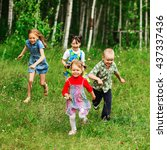 the children lead an active a... | Shutterstock . vector #437337436