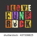 "grunge letters ""i love funk... | Shutterstock .eps vector #437338825"