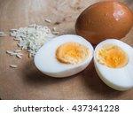 boiled egg on wooden background ... | Shutterstock . vector #437341228