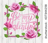 be my valentine card on wooden...   Shutterstock .eps vector #437344258