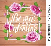 be my valentine card on wooden... | Shutterstock .eps vector #437344276